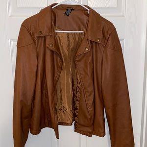Rue 21 Brown pleather crop jacket